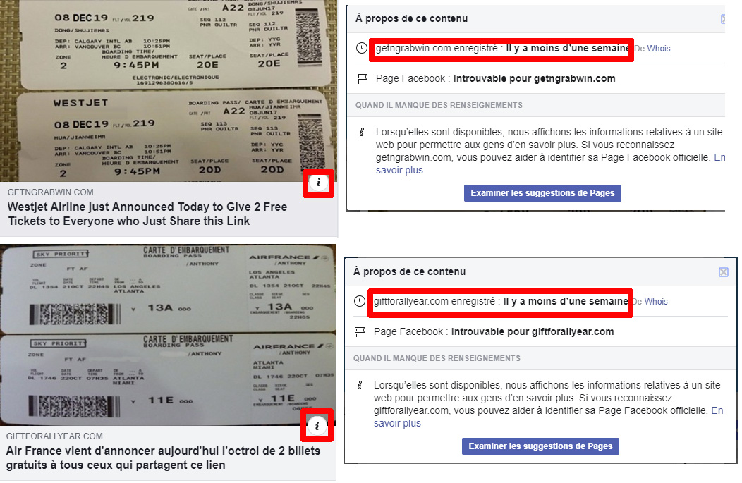 Arnaque Facebook Air France WestJet