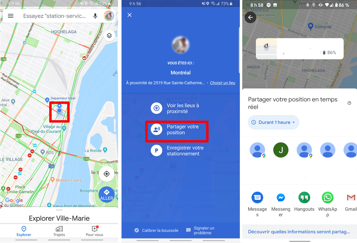 Google Maps comment partager position iOS Android