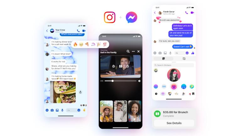 Messenger nouveau logo INstagram réactions thèmes stickers
