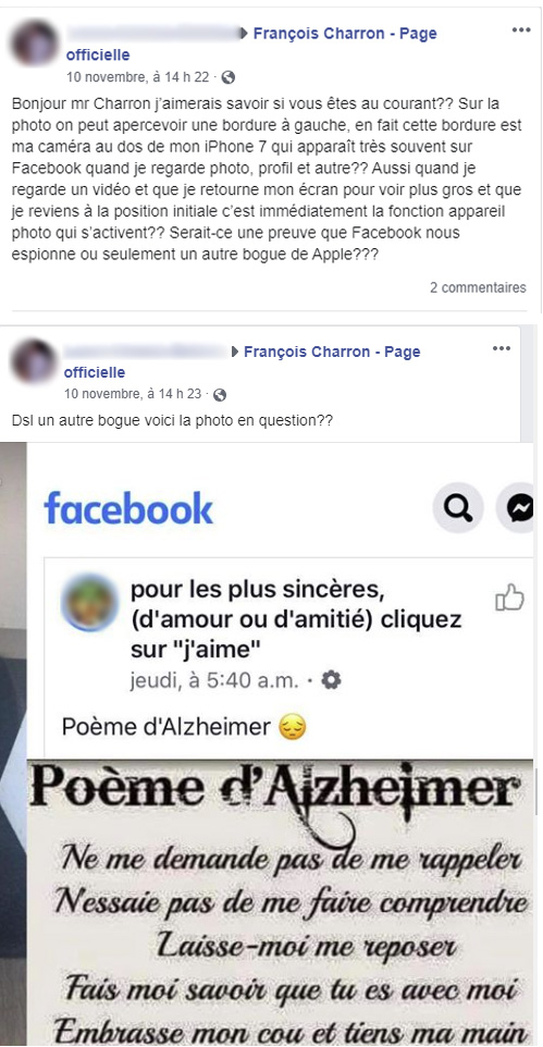 Facebook commentaire caméra iPhone