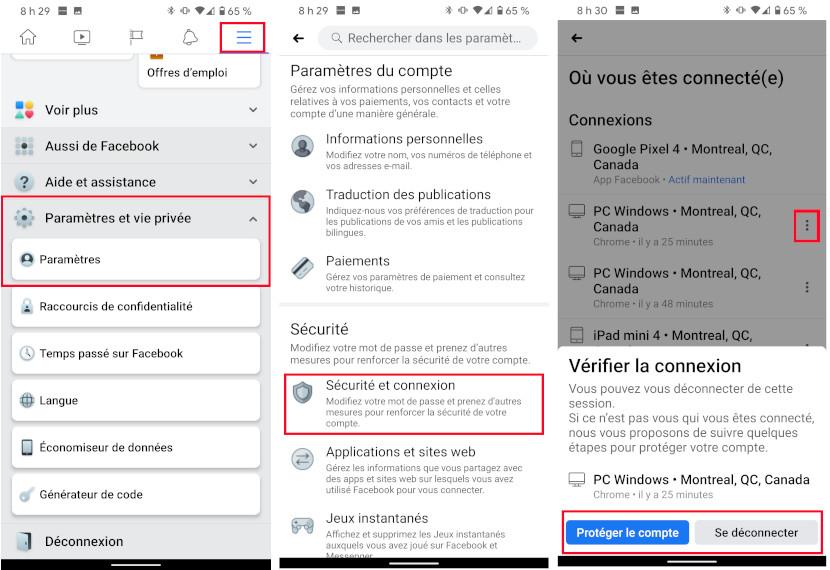 Facebook connexion sécurité mobile ocmpte