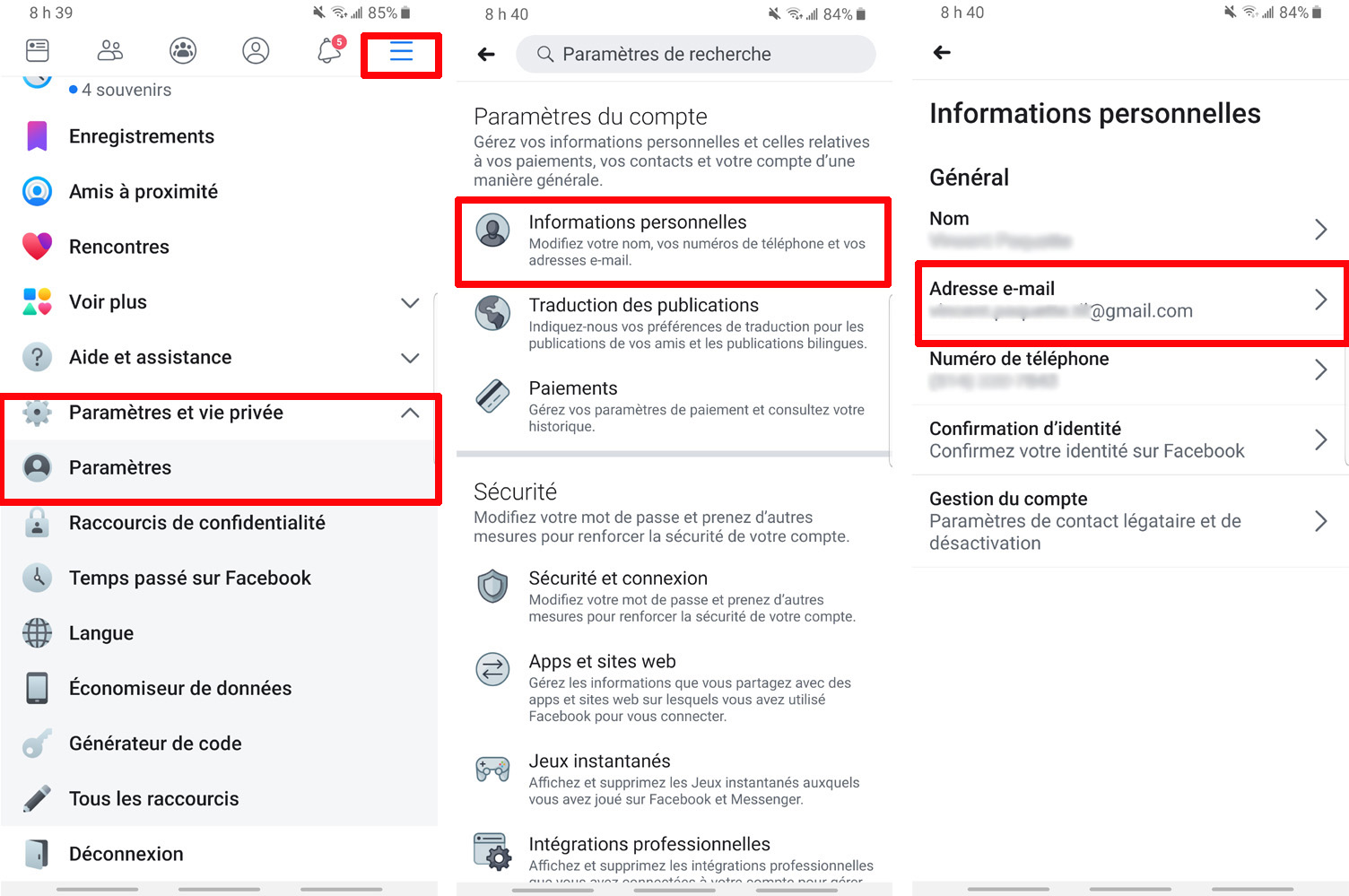 Facebook modification adresse courriel principale mobile