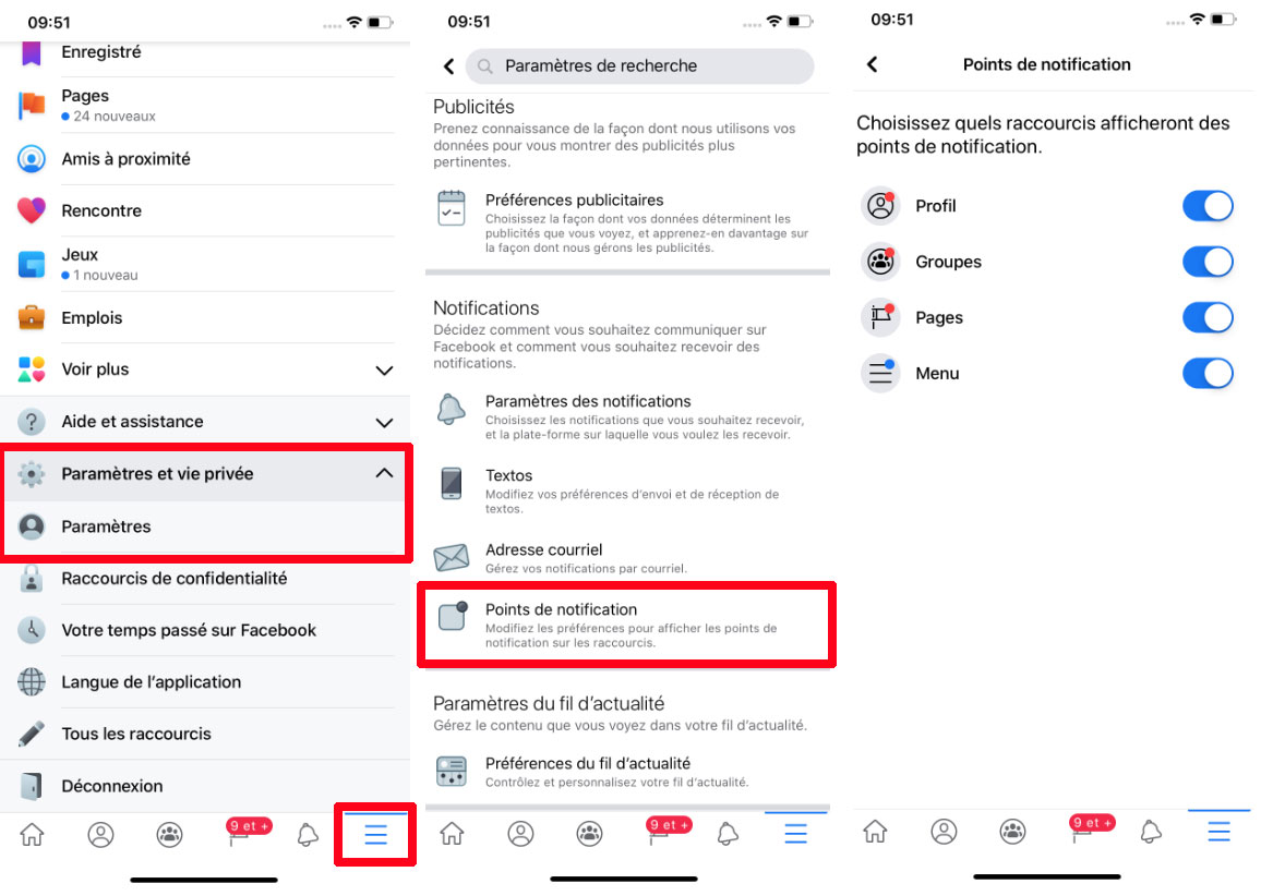 Comment retirer points notifications rouges Facebook application mobile telephone intelligent