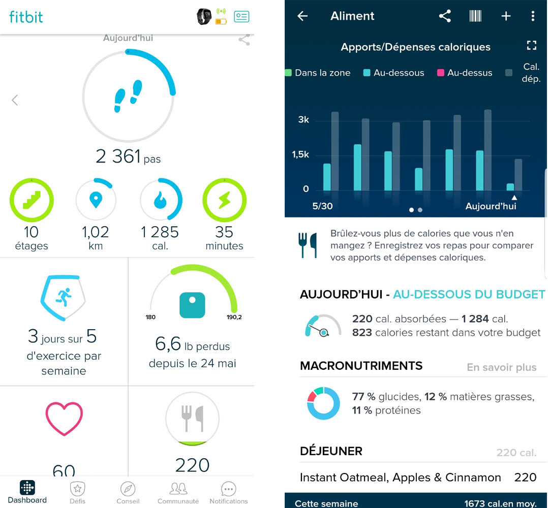 Fitbit Versa application montre intelligente