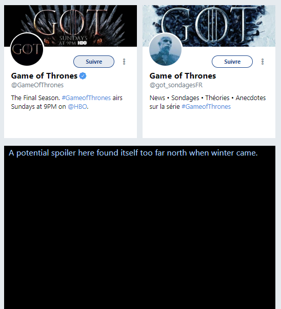 GameofSpoils extensions Google Chrome Game of Thrones
