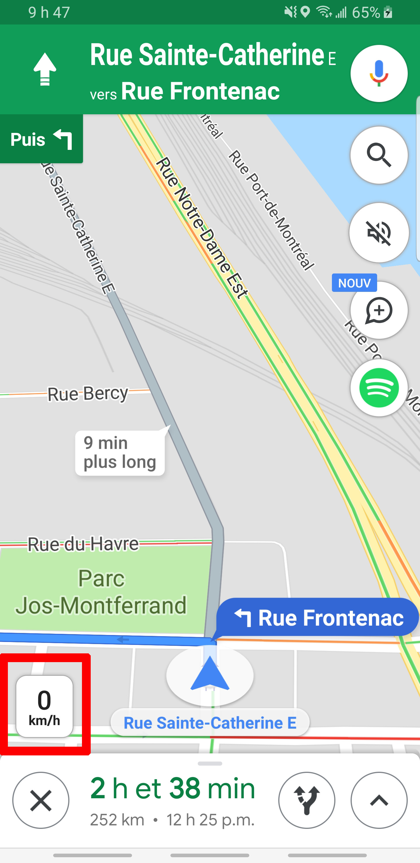 Google Maps indicateur compteur de vitesse