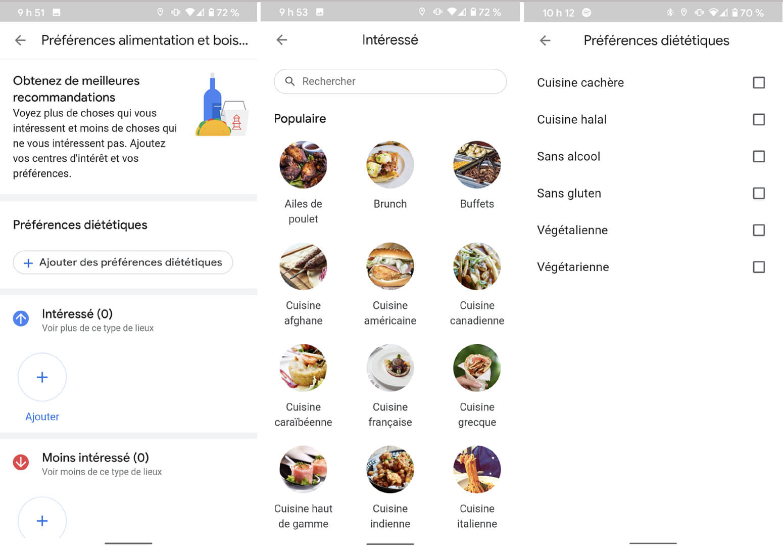 Google Maps application intérêt cuisine restrictions alimentaires