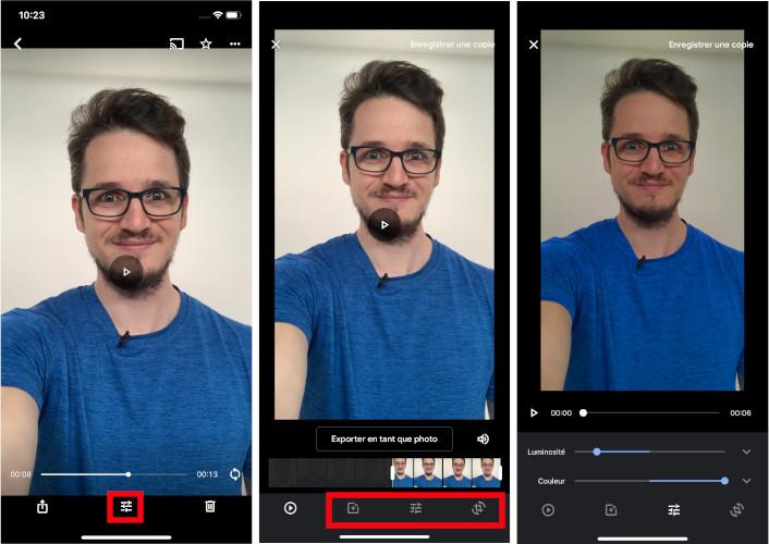 Google Photos comment modifier vidéos sur l'application mobile iOS Android