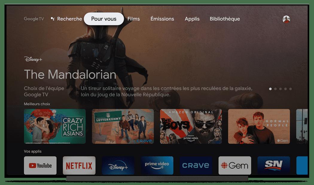 Interface Google TV Chromecast télévision