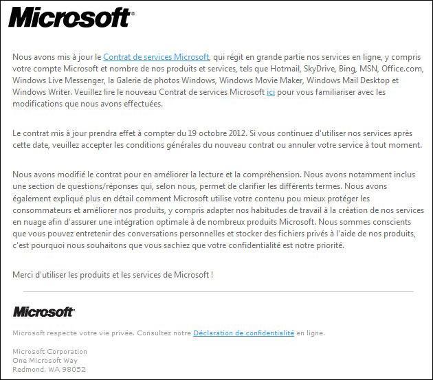 Changement du Contrat de service Microsoft ...