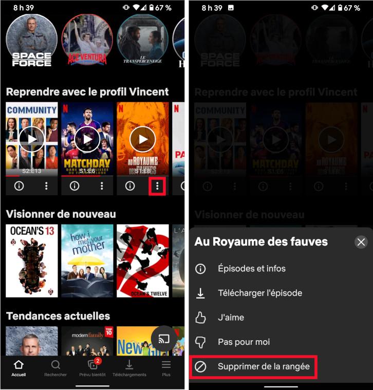 Netflix comment retirer film émissions liste reprendre