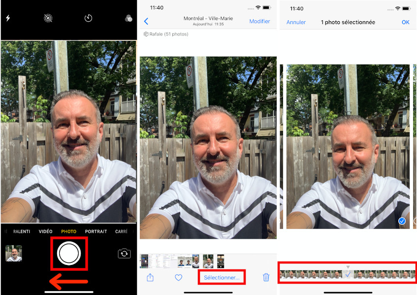Photos en rafale iPhone comment faire