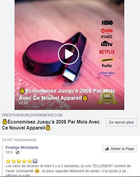 Publicité Facebook TVFix