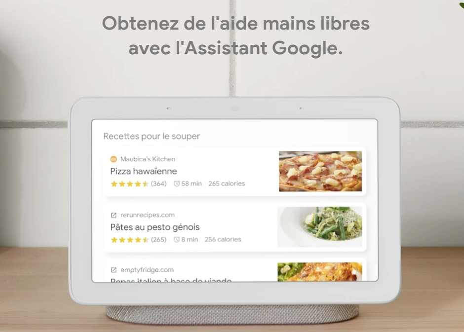 Google Nest Hub assistant cuisine recettes