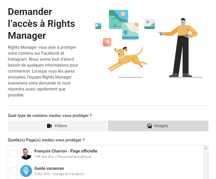 Rights Manager Facebook droits auteur photos vidéos