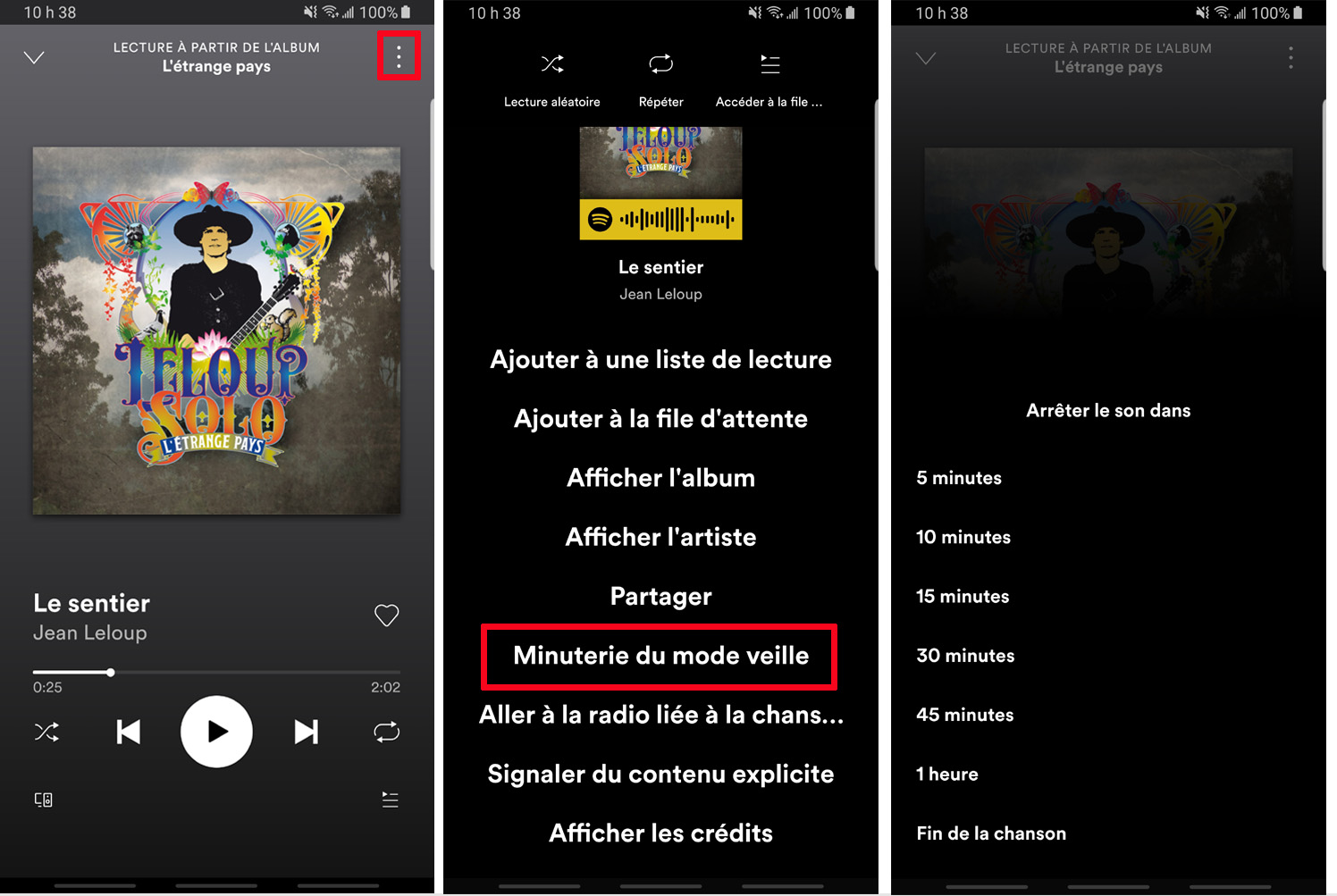 Spotify comment activer minuterie mode veille application Android