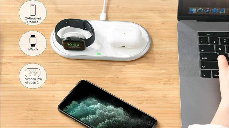 Station recharge sans-fil Qi téléphone intelligent iPhone Apple Watch Air Pods