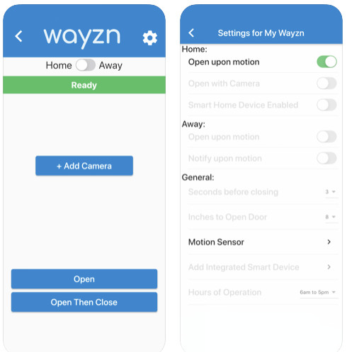 Application mobile Wayzn porte patio coulissante intelligente