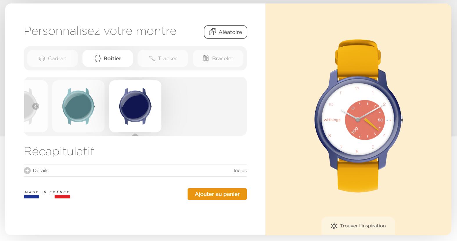 Withings Move montre intelligente personnalisation cadran boitier aiguilles bracelet
