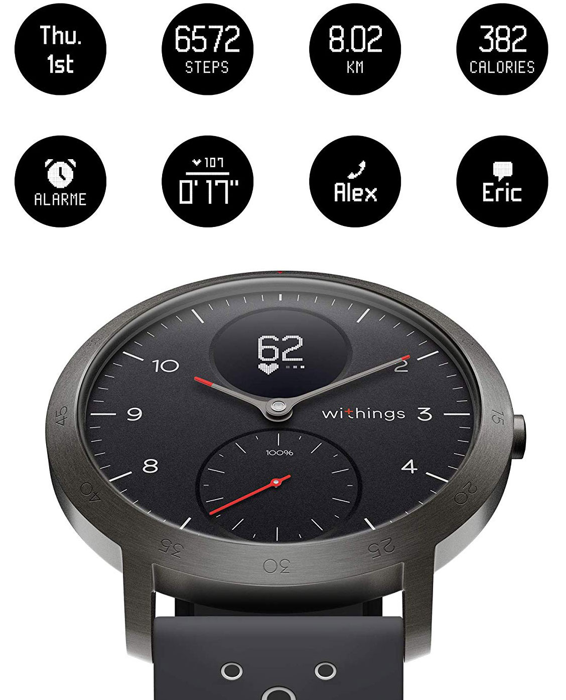Withings Steel HR Sport notification montre