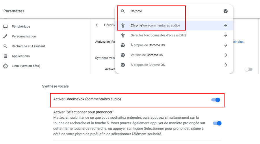 Chromebook comment activer ChromeVox