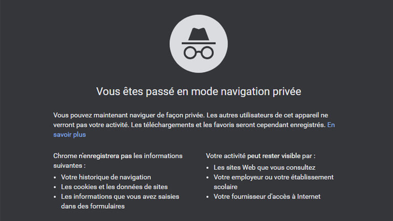 activité visible google chrome mode incognito