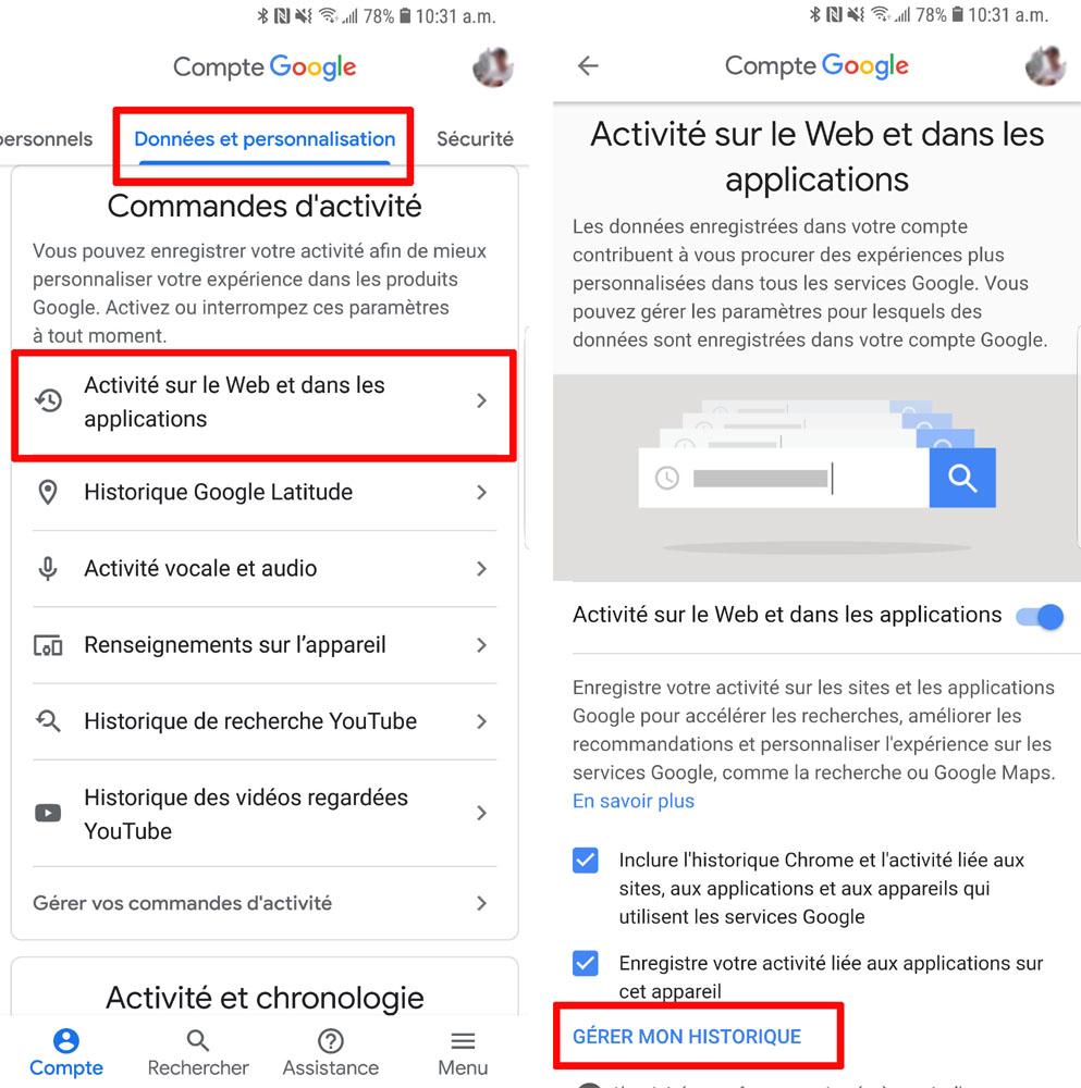 comment supprimer son historique de recherche google