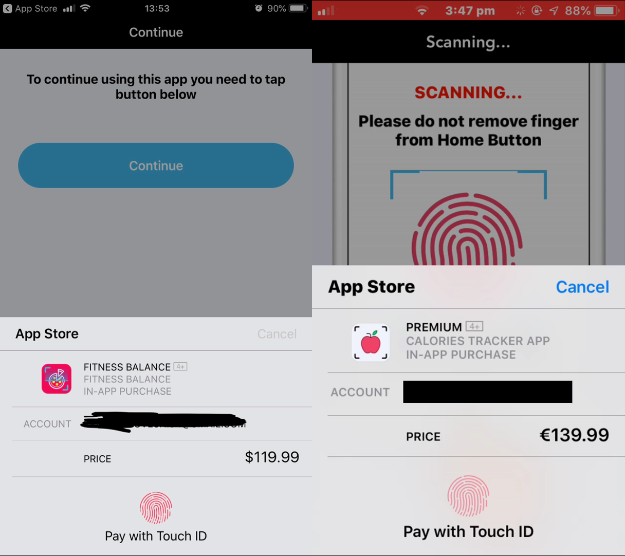 Apple Touch ID fraude Fitness Balance