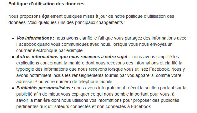 Changements Facebook