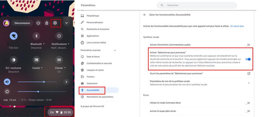 Chromebook comment activer fonction Sélectionner pour prononcer