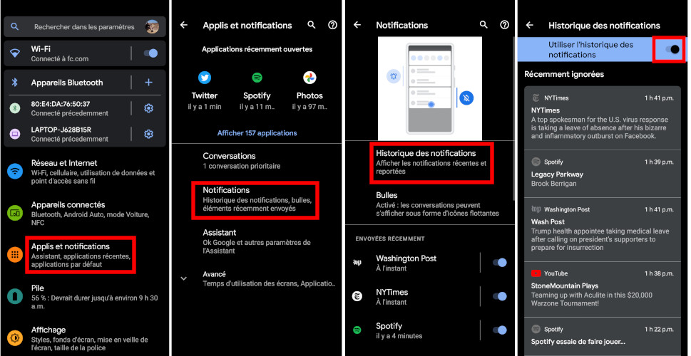 Comment activer historique de notifications Android 11