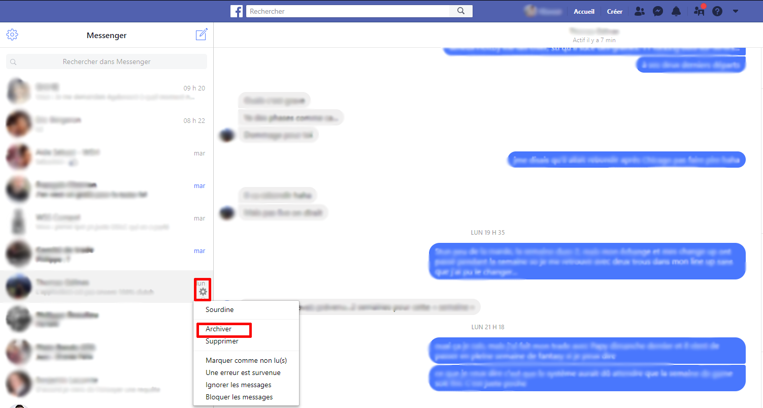 Comment archiver conversation Messenger ordinateur