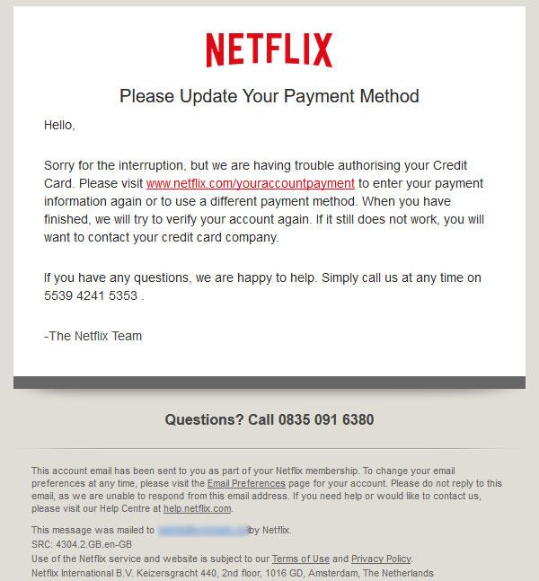 Courriels frauduleux Netflix