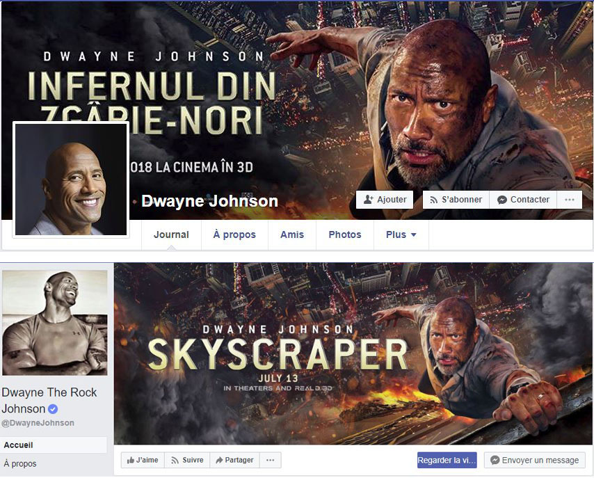 Faux vrai compte Facebook Dwayne Johnson The Rock