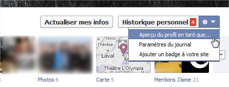 Facebook aperçu profil en tant que