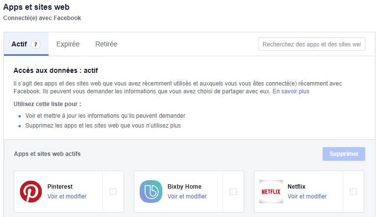 Facebook applications tierces