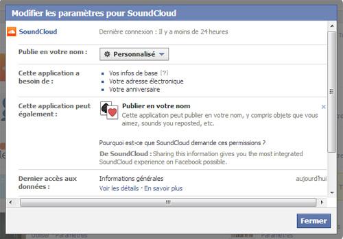 Facebook applications autorisations