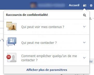 Facebook raccourcis confidentialité