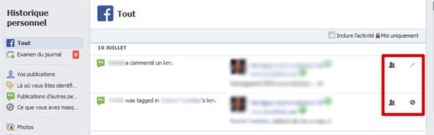 Facebook modifier historique personnel
