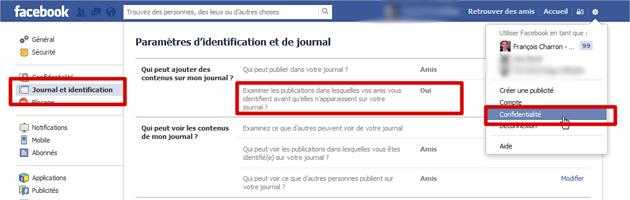 Facebook journal et identifications