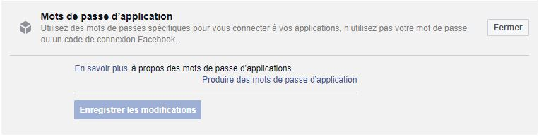 Facebook mots de passe applications