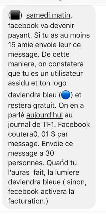 Facebook payant message