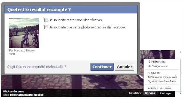 Facebook retirer photo