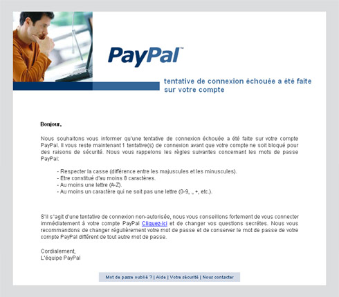 Courriel fraude paypal