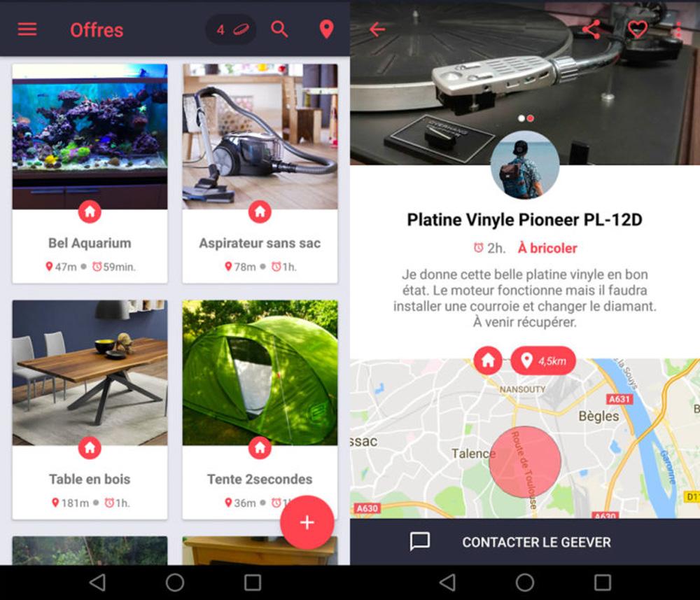 super app contenant uniquement des objets gratuits donner. Black Bedroom Furniture Sets. Home Design Ideas