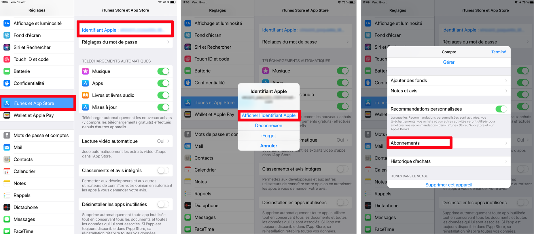 Gestion abonnement application App Store Apple