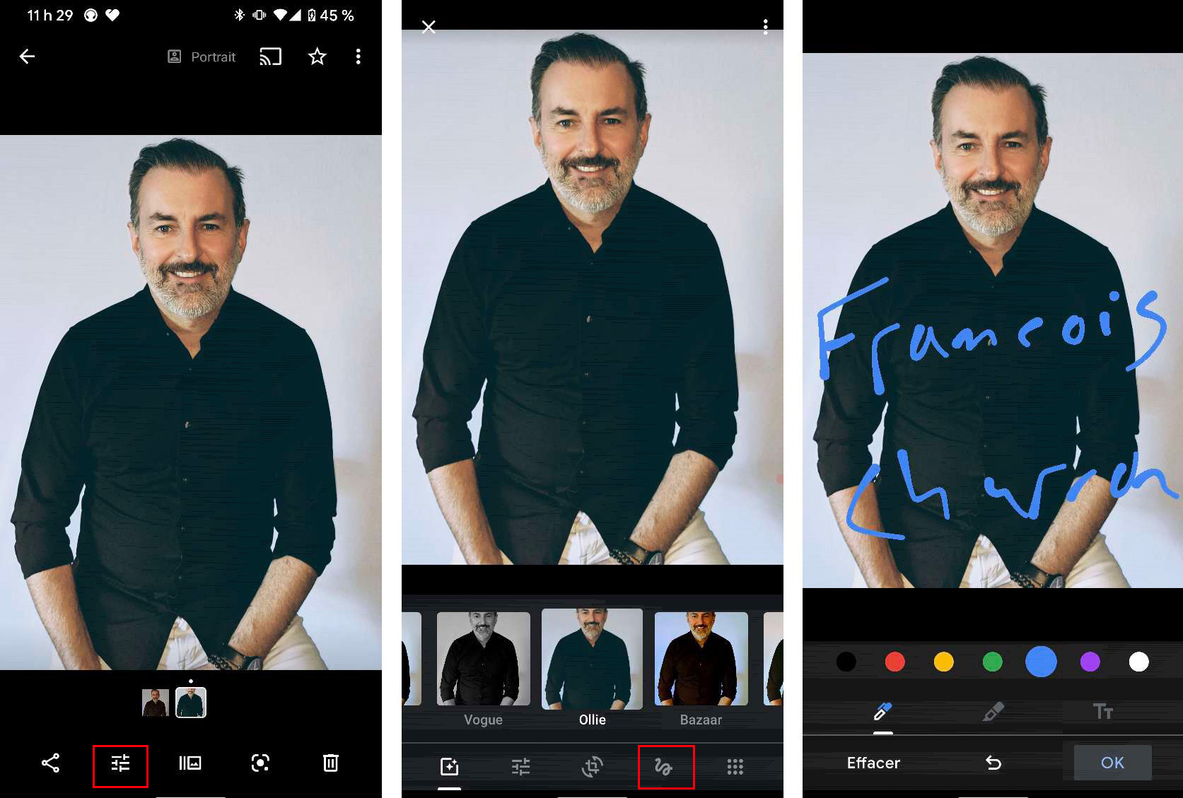 google photos annotation outil dessin modification photos