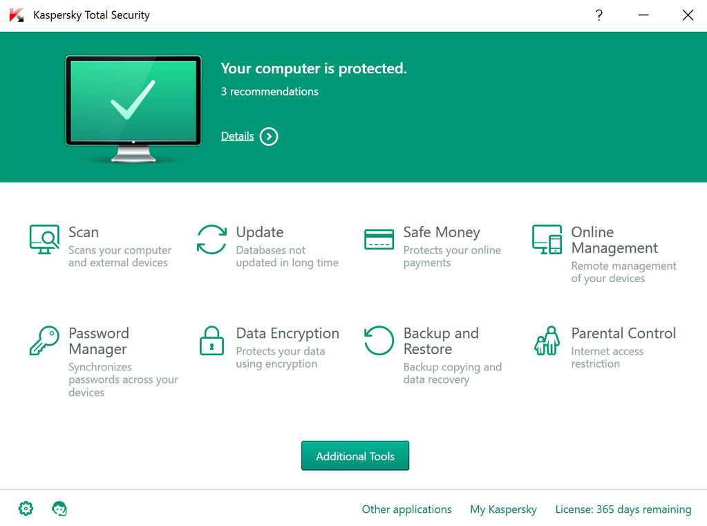 Interface Kaspersky