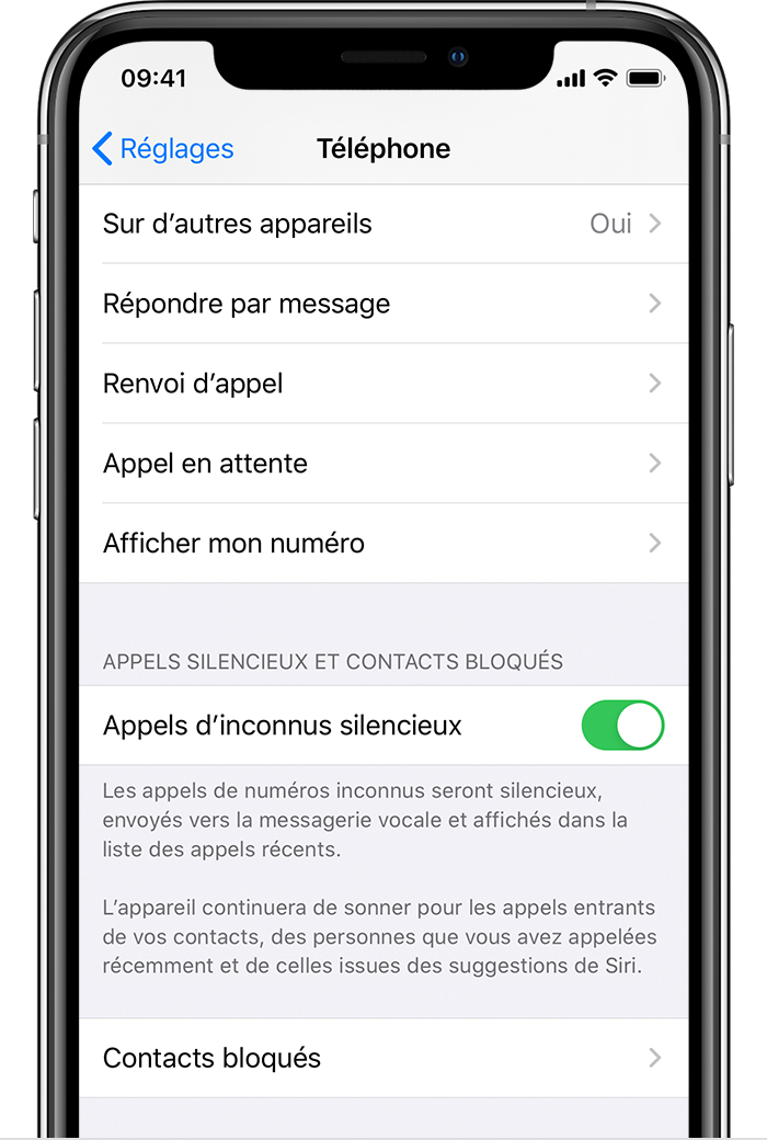 Appel inconnu iPhone mode silencieux