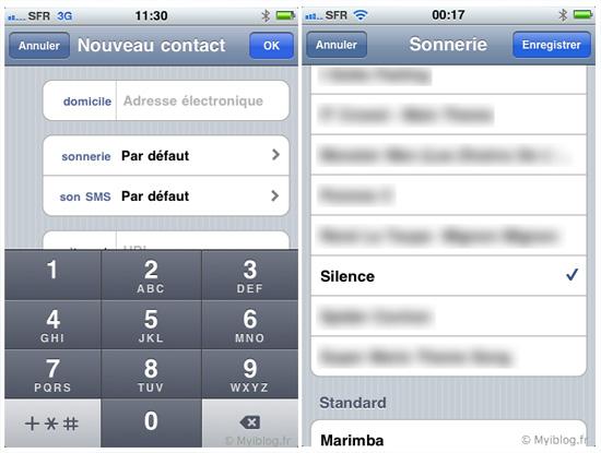 une sonnerie silencieuse pour iphone